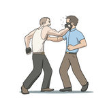 Face punch. This is an illustration of fighting men Royalty Free Stock Photos