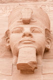 Face of Ramses II,Abu Simbel, Egypt. Detail of the face of Ramses II of one of the gigantic statues of Abu Simbel. Built in 1274-1244 BC.  Huge statues guarding Royalty Free Stock Image