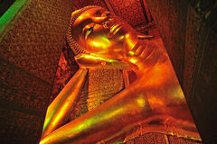 The face of Reclining Buddha statue Royalty Free Stock Photos