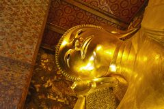 Face of Reclining Buddha Wat Pho. Stock Image