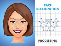 Face recognition - biometric security system stock photos