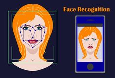Face recognition biometric security system with a face of woman Stock Photo