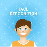 Face Recognition Biometrics Scanning Of Male User Icon. Vector Illustration Royalty Free Stock Photos