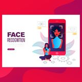 Face recognition concept design. Can use for web banner, infographics, hero images. royalty free illustration