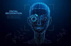 Free Face Recognition. Cyber Women, Robot Face. Facial Recognition System Concept. Biometric Scanning, 3D Scanning. Face ID. Royalty Free Stock Photography - 139263097