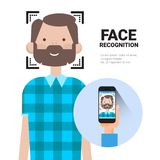 Face Recognition Hand Holding Smart Phone Scanning Man Modern Biometrical Identification System Concept Stock Images