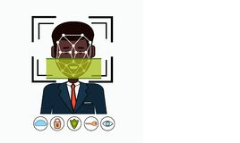 Face Recognition And Identification System Biometrical Identification African American Business Man Face Scanning Stock Photos