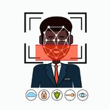 Face Recognition And Identification System Biometrical Identification African American Business Man Face Scanning Stock Photo