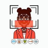 Face Recognition And Identification System Biometrical Identification African American Business Woman Face Scanning Royalty Free Stock Image