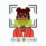 Face Recognition And Identification System Biometrical Identification African American Business Woman Face Scanning Royalty Free Stock Photo