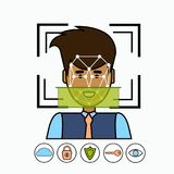 Face Recognition And Identification System Biometrical Identification Business Man Face Scanning. Vector Illustration Stock Photos
