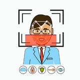 Face Recognition And Identification System Biometrical Identification Business Man Face Scanning. Vector Illustration Royalty Free Stock Photo