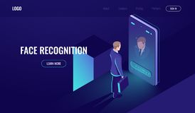 Free Face Recognition, Isometric Icon, Man Look Into The Phone Camera, Biometric Technology, Identification, Detection Of Stock Images - 134543154