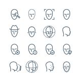 Face recognition line icons. Faces biometrics detection, facial scanning and unlock system vector pictograms. Facial scan, face biometric identification vector illustration