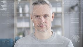 Face recognition, security check of middle aged man. 4k high quality, 4k high quality stock video