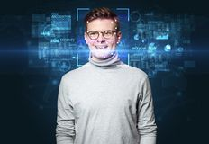 Face recognition with several points Stock Images