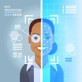 Face Recognition System Scanning Eye Retina Of African American Business Woman Modern Identification Technology Access. Control Concept Vector Illustration Royalty Free Stock Photography