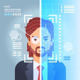 Face Recognition System Scanning Eye Retina Of Business Man Modern Identification Technology Access Control Concept. Vector Illustration Royalty Free Stock Image