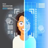 Face Recognition System Scanning Eye Retina Of Business Woman Modern Identification Technology Access Control Concept Royalty Free Stock Image