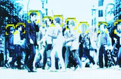 Free Face Recognition Technology Big Data And Security In City With Crowd Stock Photos - 148399543