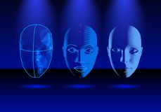 Face recognition technology in progress, from old science to modern smartphone verification Stock Photos