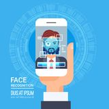 Face Recognition Technology Smart Phone Scanning Eye Retina Biometric Identification System. Vector Illustration Royalty Free Stock Photo
