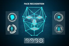 Face recognition technology system stock images