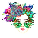Face with red fairy eyes with makeup, green and red purple butterfly wings shape eyeshadows look like mask, floral abstract hair. Style, hand painted watercolor Royalty Free Stock Photography