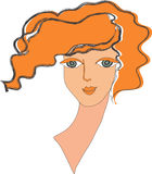 Face of the red girl. The person, neck and red, wavy hair of the girl on a white background is large Royalty Free Stock Images