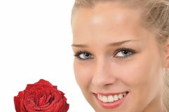 Face and red rose with water drops Stock Images