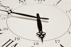 Face of retro clock. With numbers and roman numerals Stock Photography