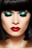Face retro do encanto do Close-up. Composição do glitter do disco foto de stock royalty free