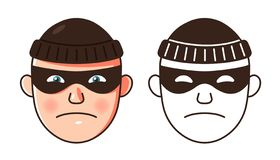 The face of the robber. two color options and contour. stock illustration