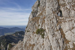 Face of the rock wendelstein with hiking trail, mountaineering w Royalty Free Stock Images