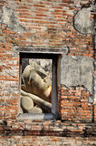 Face of Ruin. Image of Buddha in Ayutthaya historical park, Thailand Royalty Free Stock Images
