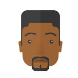 Face of a sad black guy. A face of a sad but a good looking black guy with his hairstyle. A Contemporary style. Vector flat design illustration isolated white Stock Images