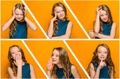 The face of sad teen girl. With long hair on orange studio background. Collage of different emotions Royalty Free Stock Photos