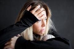 Face of sad woman, depressed woman stock photos