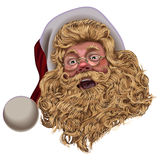 Face Santa Claus hat with goggles. Face Santa Claus in hat with sunglasses on a blank background Royalty Free Stock Photography