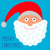 Face of Santa Claus. Snowflakes. Merry Christmas c Stock Photography