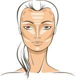 Face Sculpting With Makeup Stock Photo