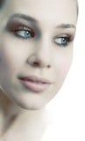 Face of sensual beautiful feminine fresh woman stock image