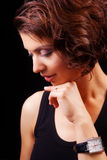 Face of sensual graceful middle aged woman Stock Photos