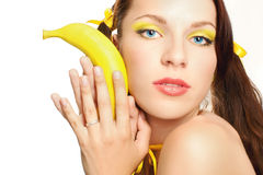 face sexual girl in yellow Stock Photo