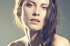 Face of a sexy girl with natural makeup Royalty Free Stock Images