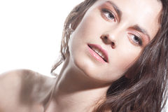 Face of a sexy girl with natural makeup Royalty Free Stock Photography