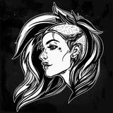 Face of a sexy young grunge punk girl. Female portrait in line art tattoo style with beautiful hair shaved on one side. Isolated vector illustration. Modern Stock Images