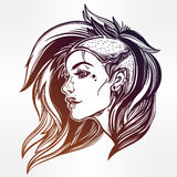 Face of a sexy young grunge punk girl. Female portrait in line art tattoo style with beautiful hair shaved on one side.  vector illustration. Modern street Stock Photography