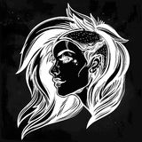 Face of a sexy young grunge punk girl. Female portrait in line art tattoo style with beautiful hair shaved on one side.  vector illustration. Modern street Stock Image