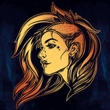 Face of a sexy young grunge punk girl. Female portrait in line art tattoo style with beautiful hair shaved on one side.  vector illustration. Modern street Royalty Free Stock Photography